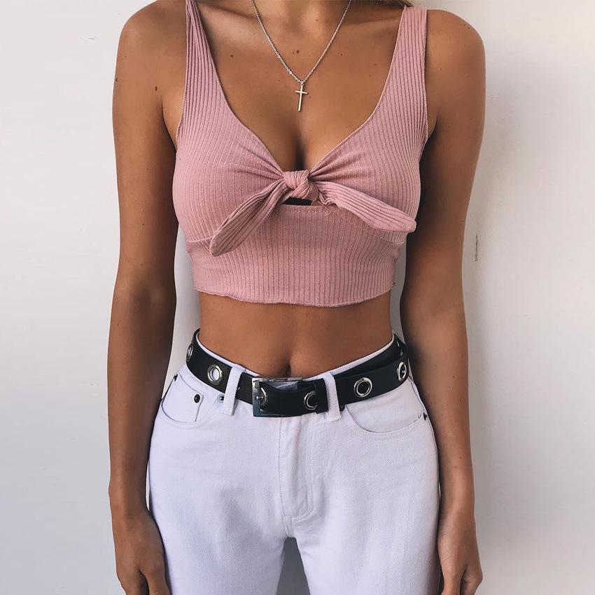 Compre Mulheres Rosa Top De Malha De Colheita Tanque Profundo Decote Em V  Moda 2018 Verão Senhoras Lace Up Bow Tee Camisola Cortada Vetement Femme De  ... 23db0aacb9b34