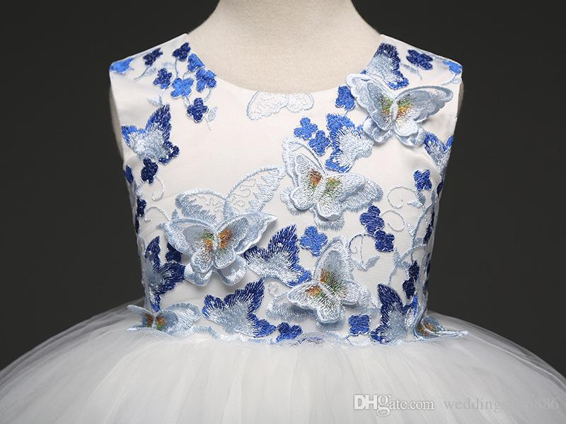 flower Girls Dresses Butterfly Kids Flower Dresses Appliques Mesh Children Wedding Party Frocks Formal Baby Gowns for Girl