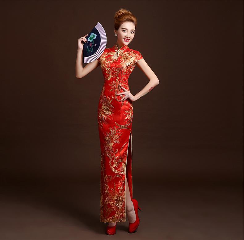Grosshandel Rotes Cheongsam Kleid Lange Meerjungfrau Qipao Kleider