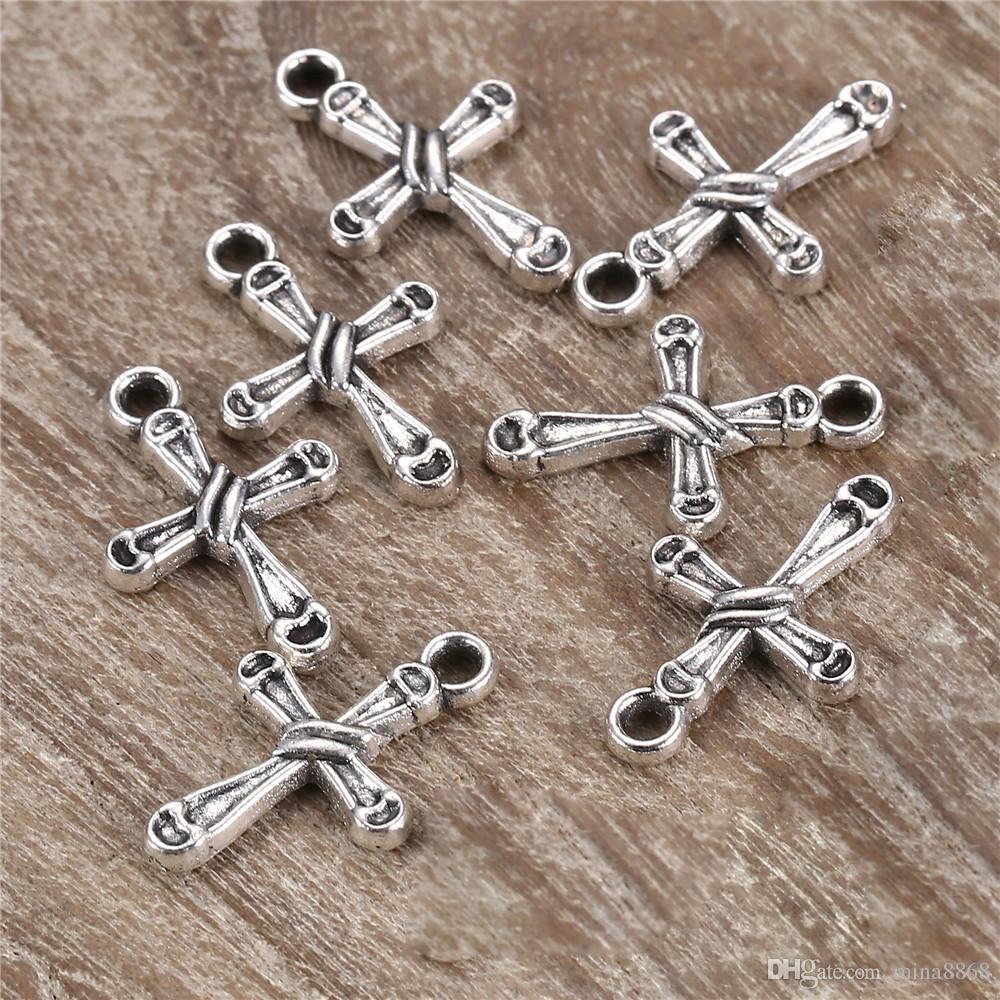 / 20 * 13mm croix breloques anti argent Vintage petite croix breloques pendentifs pour collier bijoux faits à la main résultats en gros