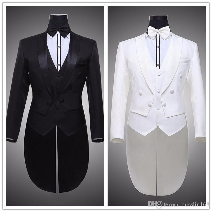 ea4c94b4a80 Jacket+pants+belt Male Wedding Groom Prom Black White Tuxedo Formal ...