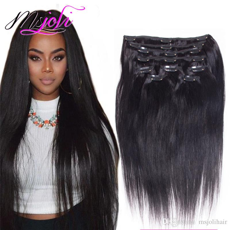 Full Head Clip In Human Hair Extensions 140g Set Malaysian Straight