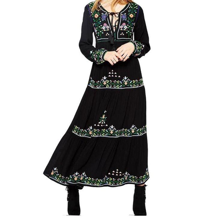 f447f245e Primavera vestido maxi de manga larga Vintage Boho Chic vestido de mujer  Floral bordado vestidos de fiesta de algodón gitano ropa Nuevo