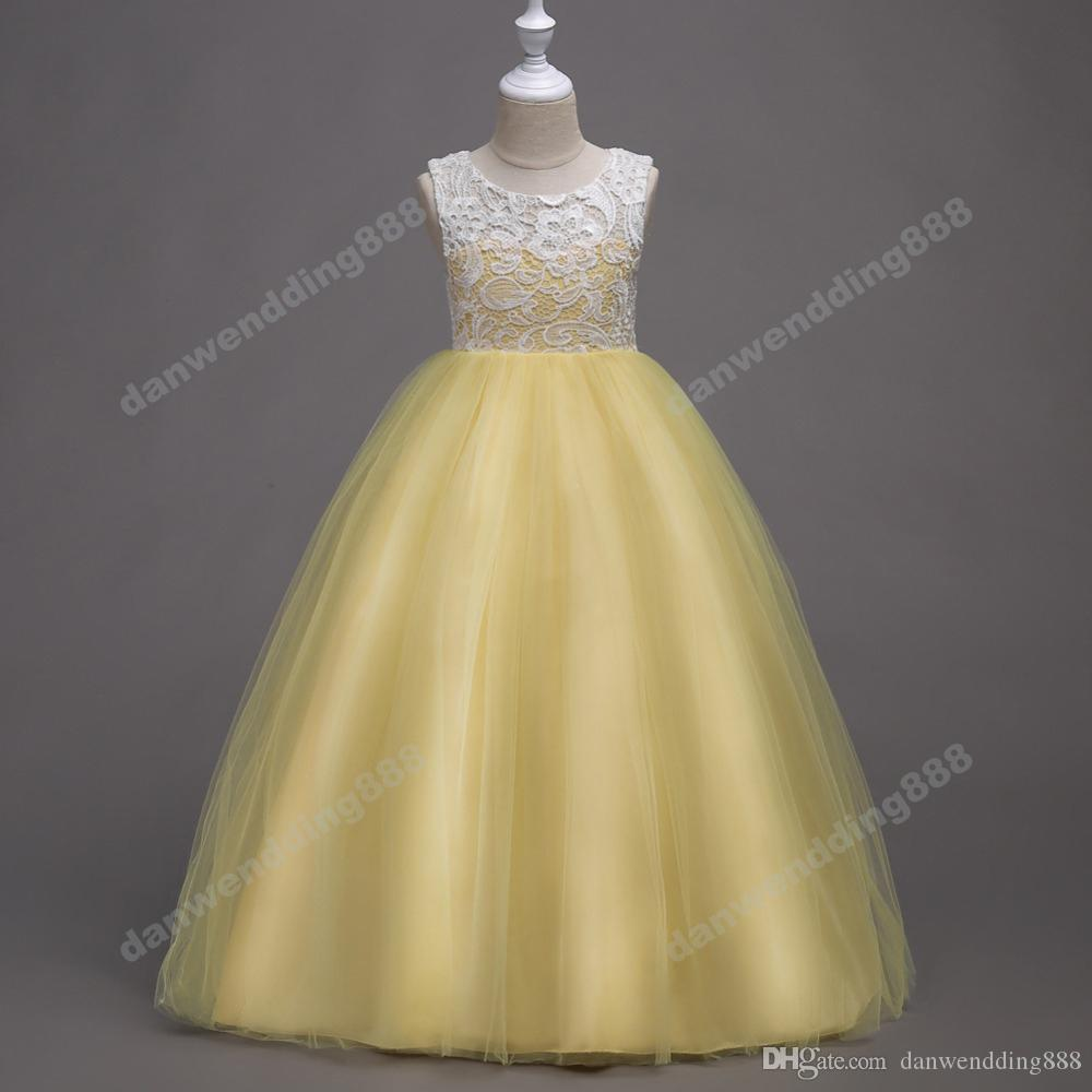 Beauty Lilac Yellow Blue Lace/Tulle Flower Girl Dresses Princess Dresses Girl's Pageant Dresses Custom Made Size 2-6 8 10 12 14 KF327207