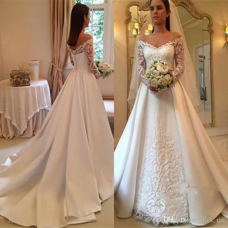 compre vestidos de novia de manga larga vintage con apliques de