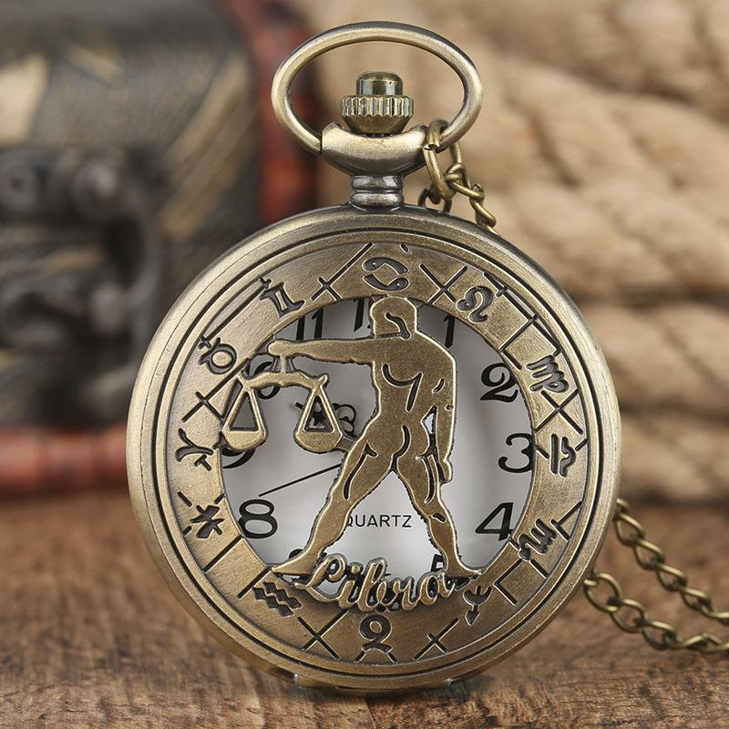 Birthday Gift Women Steampunk Libra Necklace Constellation Zodiac Pocket Watch Astrology Men Relogio De Bolso Custom Best From