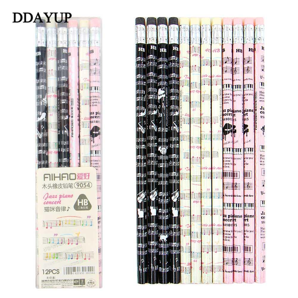 12pcs box cute kawaii 2b drawing sketches pencil students novelty writing classic wooden pencil music notes