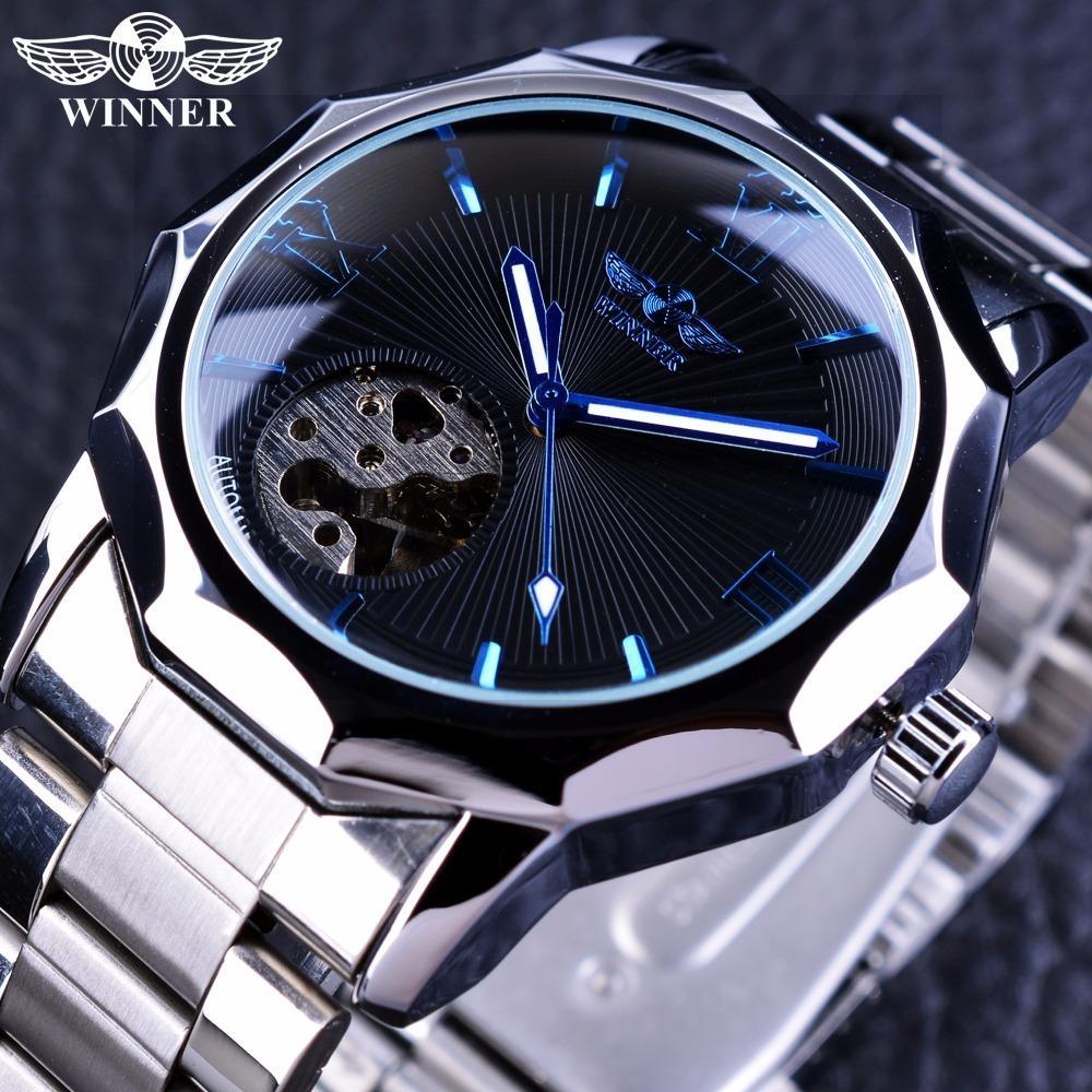 f92bfdde61f Compre Vencedor Blue Ocean Geometria Design De Luxo Em Aço Inoxidável  Pequeno Dial Skeleton Mens Relógios Top Marca De Luxo Relógio De Pulso  Automático S917 ...