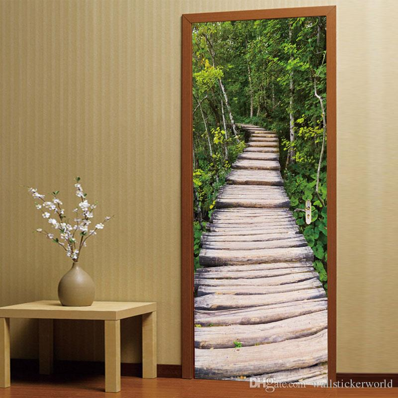 3D DIY Door Mural Wall Stickers Bedroom Home Decor Poster PVC Tree-lined Trail Waterproof Door Sticker Decals