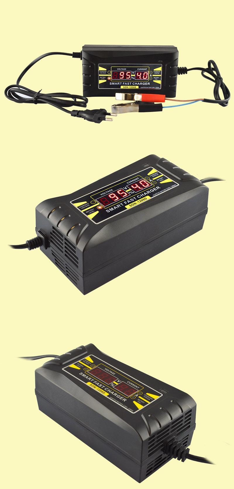 전체 자동 자동차 배터리 충전기 110V는 습식 건식 리드 산 디지털 LCD 디스플레이를 충전 12V 6A 지능형 빠른 전원에 220V하기