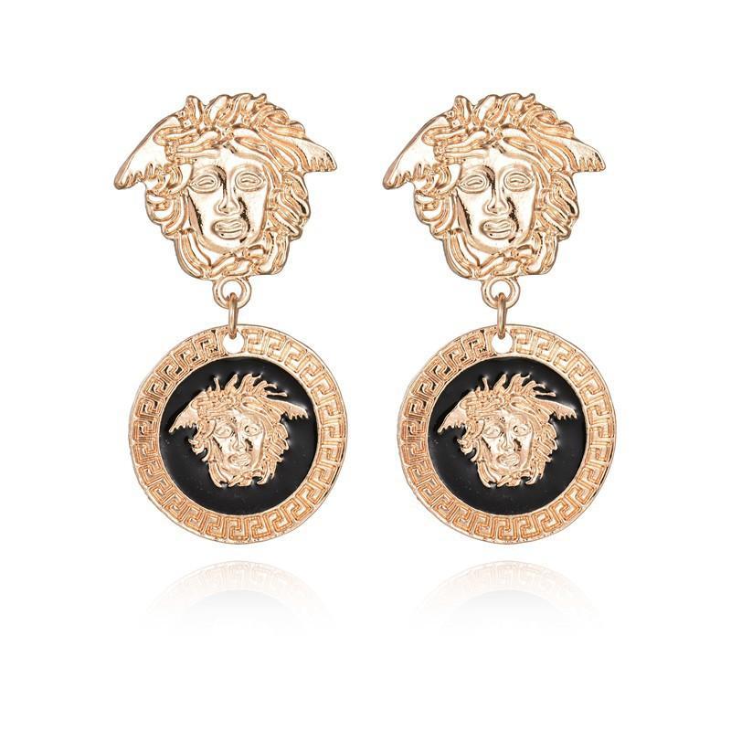 Women Gold Lion head Earring fashion brand new crystal Round Medusa Stud For Women Girl Gift