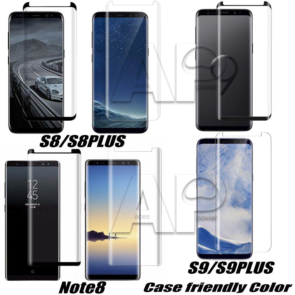 Kılıf Dostu Temperli Cam Samsung Galaxy S10 Için 5G S9 Not 9 Note8 S8 Artı S7 Kenar 3d Kavisli Vaka Sürüm Ekran Koruyucu