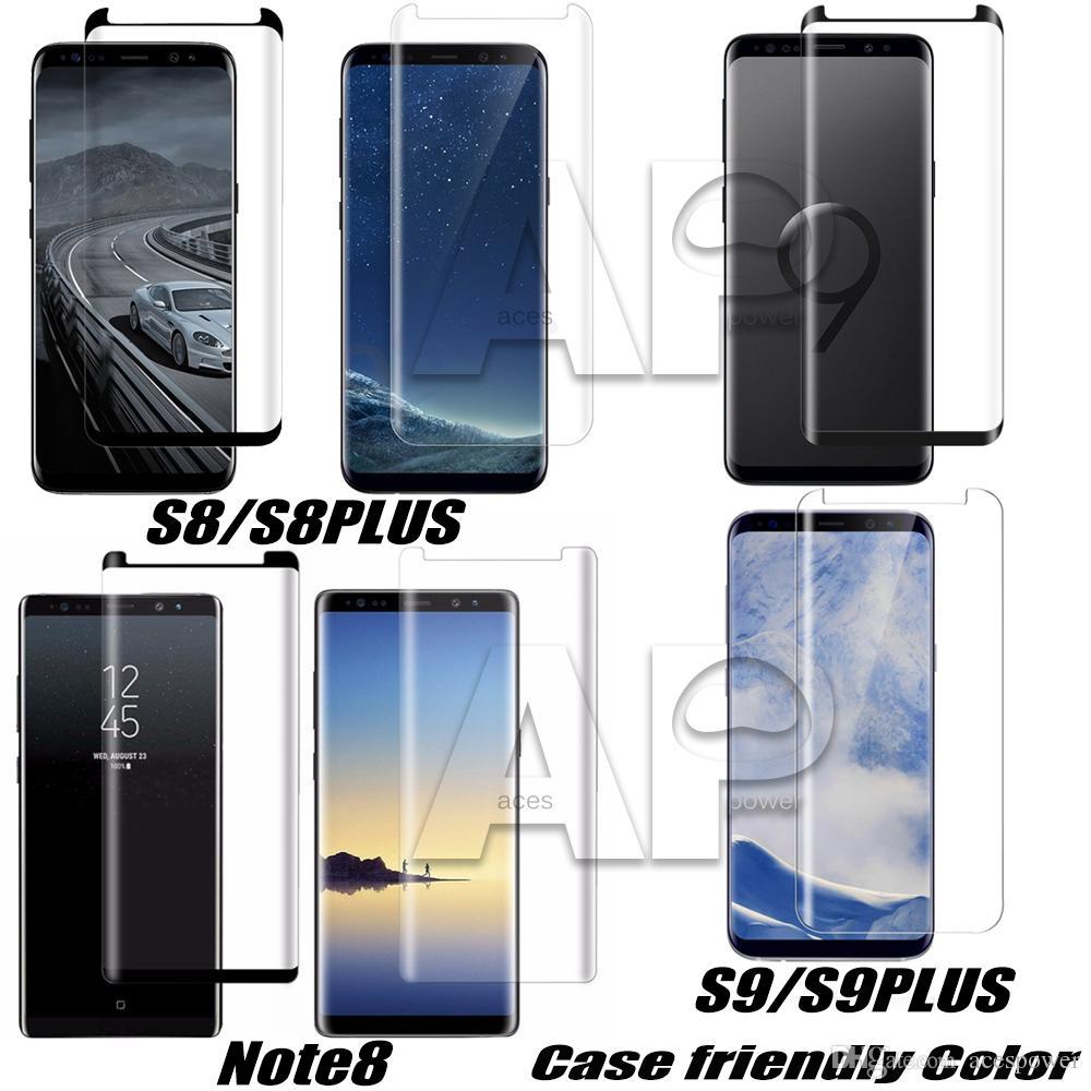 케이스 친화적 인 강화 유리 삼성 갤럭시 S21 S20 S9 참고 20 울트라 10 S8 플러스 메이트 30 Pro 3D 곡선 버전 화면 보호기