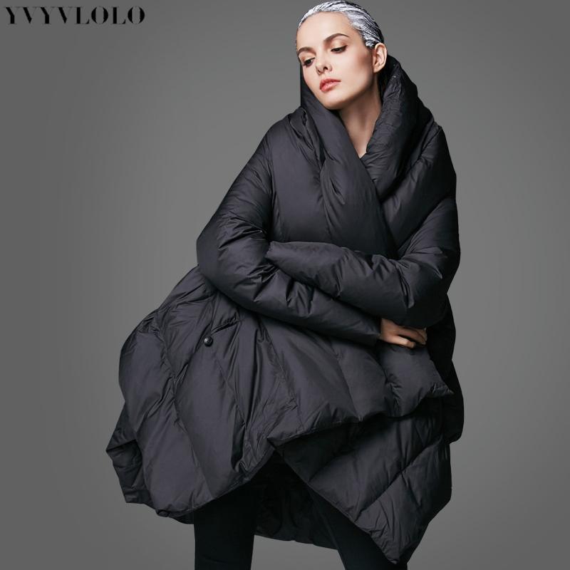Acheter 2019 YVYVLOLO Femmes Veste D hiver 2018 Nouveau Temperament De Mode  Cape Lâche Parka Femmes Vers Le Bas Manteau D hiver Veste Chaude Veste Femme  ... 88071ca391a