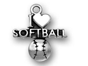 livraison gratuite nouveau style antique argent i coeur charmes de softball accessoire bijoux de sport
