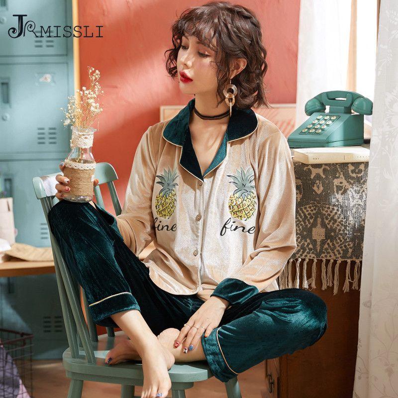 4476f5339a JRMISSLI Velvet Pajamas Sets For Women Winter Cute Pyjamas Female Pineapple  Home Clothing Sleepwear Gifts M XXL Pijama Mujer UK 2019 From Industrial