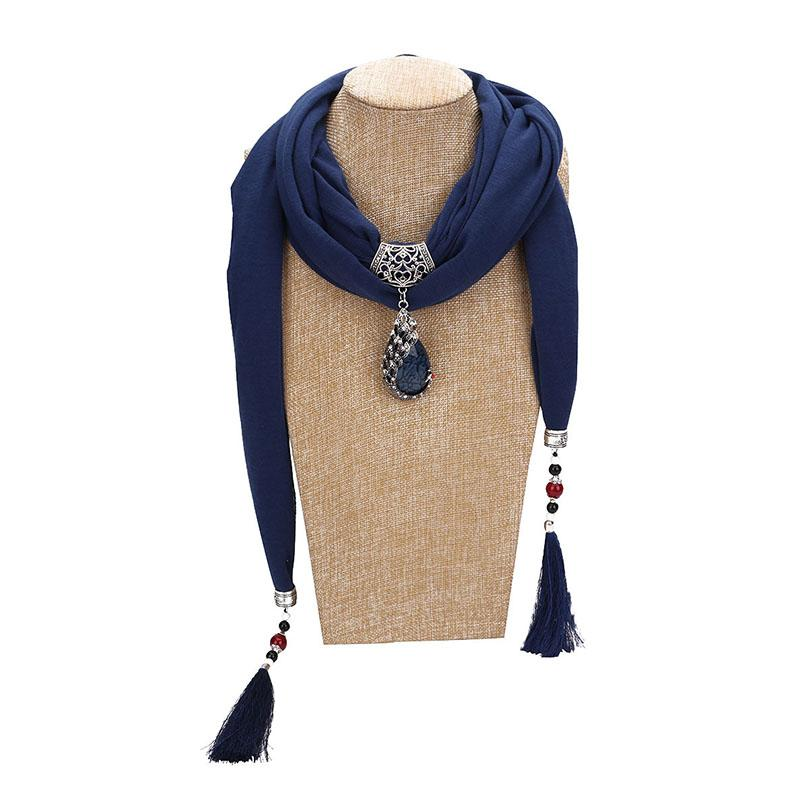 c65aeca9cb9 Haimeikang 2018 Women Jewelry Pendants Scarf With Tassels Pendant Scarves  For Women Cotton Necklace Scarf Femme Gem Pendant