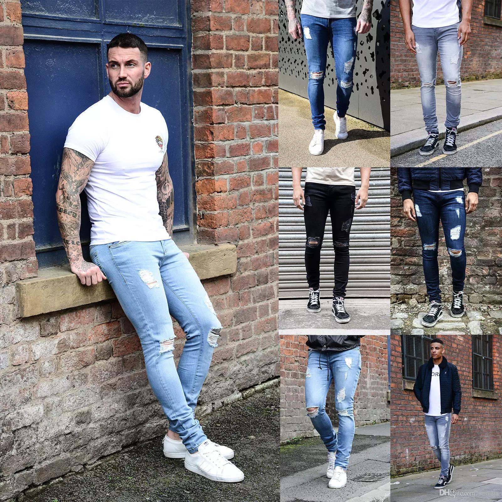 2019 Europe Style Autumn Mens Designer Skinny Jeans Men