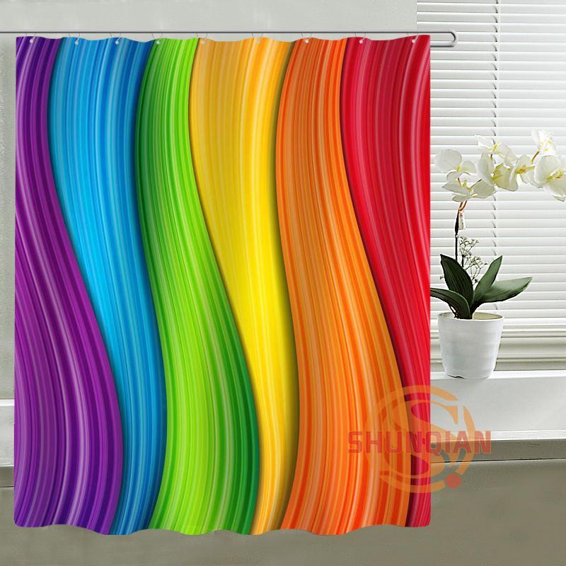 2019 Custom Shower Curtain Rainbow Bath Curtain Waterproof Polyester