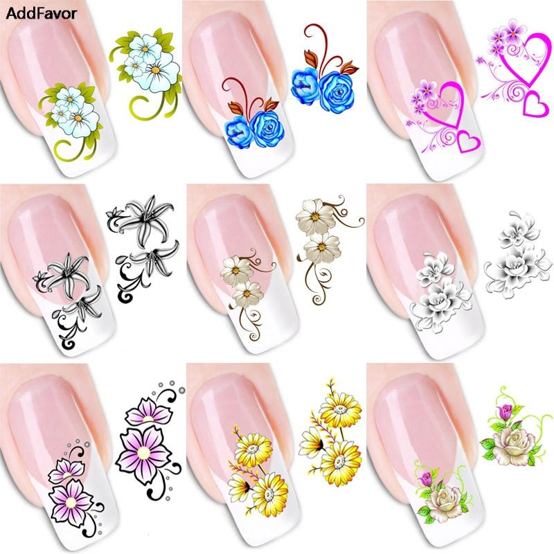 Addfavor 1 Sheet Nail Art Stickers Flower Butterfly Long Vine Decals ...