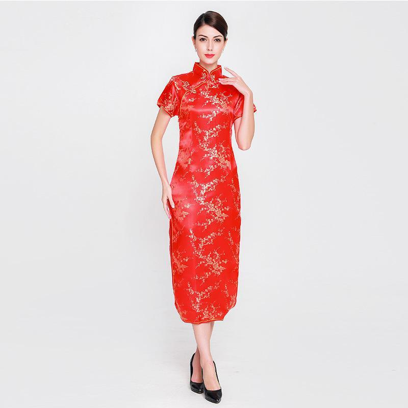 bcdac76295 Elegant Lady Satin Qipao Vintage Women Mandarin Collar Cheongsam Chinese  Style RED Bride Wedding Dress Flower Plus Size S-6XL
