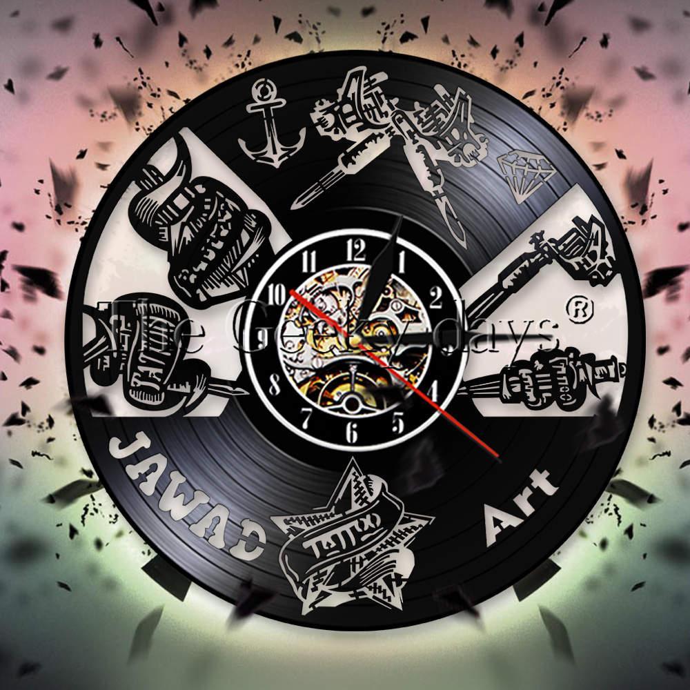 Tattoo Studio Business Sign Wall Clock Tattoo Salon Vinyl Record