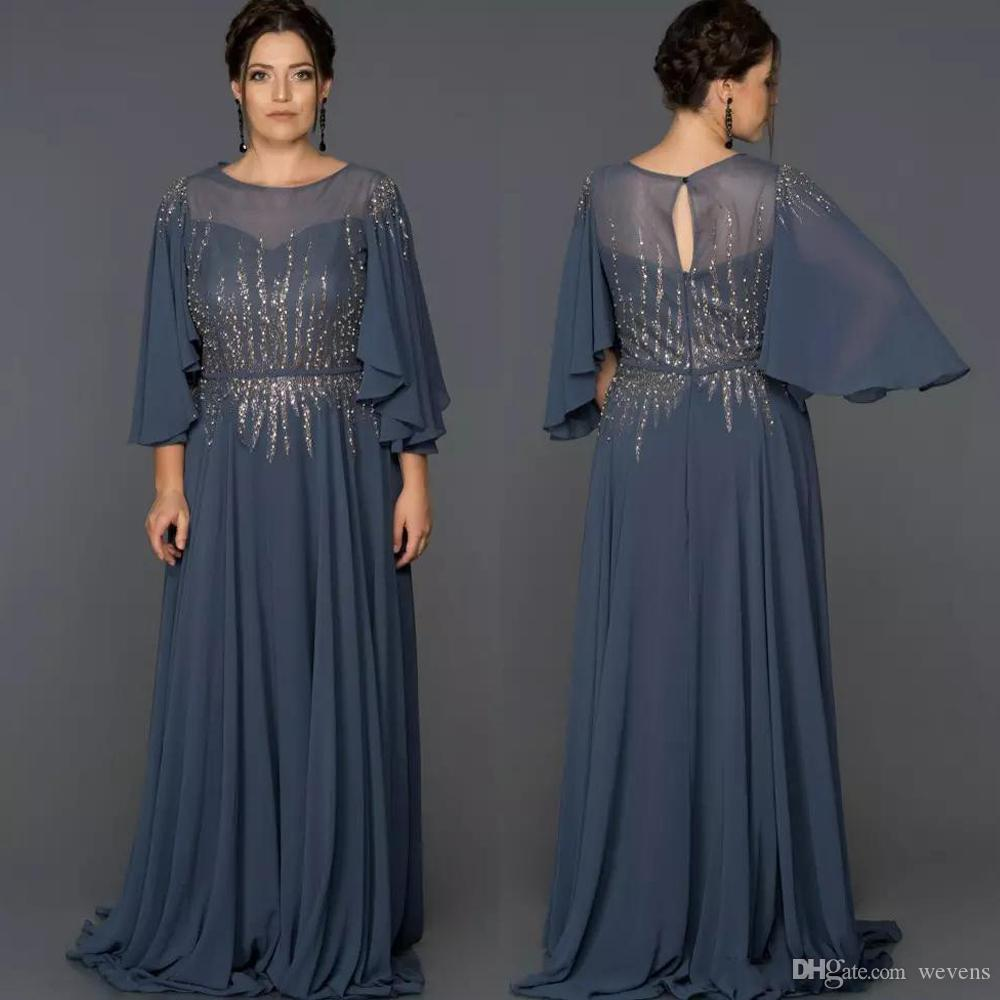 Elegant A Line Chiffon Long Mother's Dresses Jewel Neck with 3/4 Sleeve Beading Formal Gown Floor Length Sequin Evening Wear