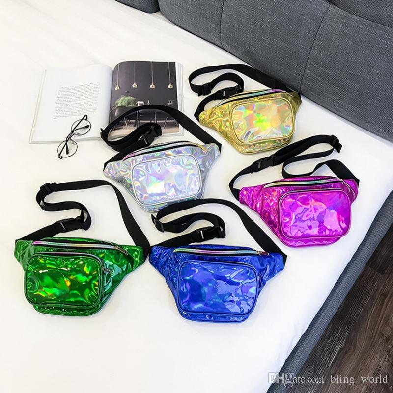 Laser Waist Bag Women Travel Fanny Pack Holographic Bum Bags Punk Leg Bag Hologram Purse Belt Phone Holder 5 Colors 20pcs YW1435