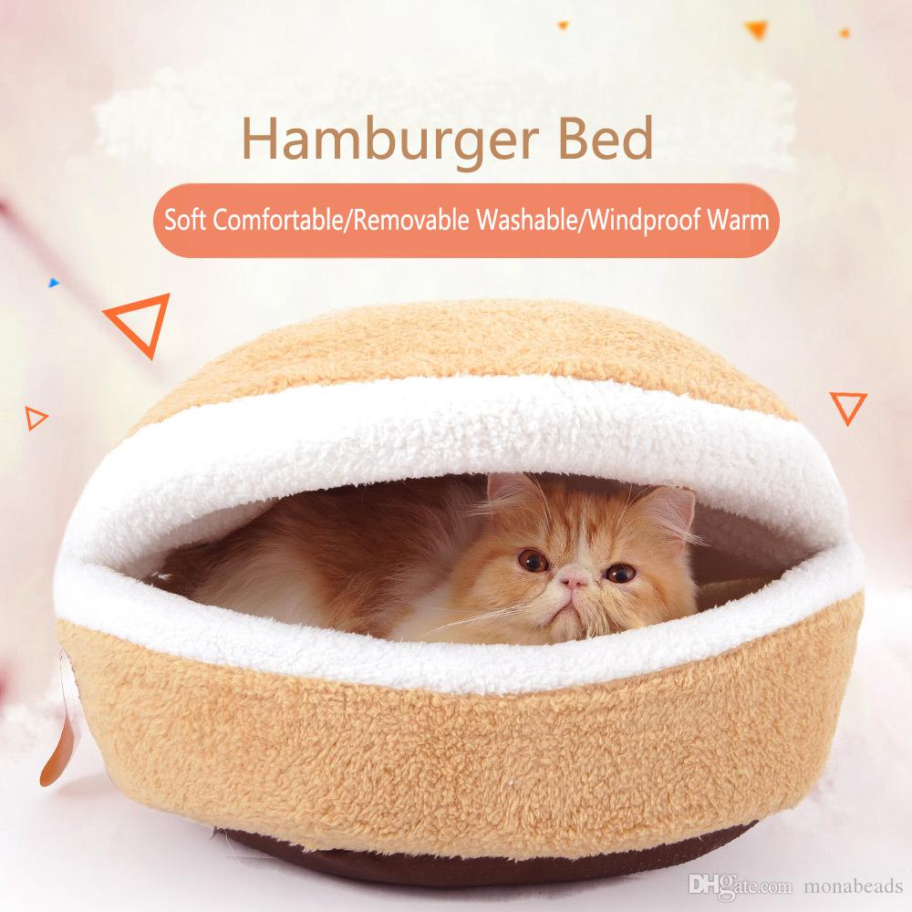 2019 Hamburger Bed Warm Cat House Dismantling Winter Windproof