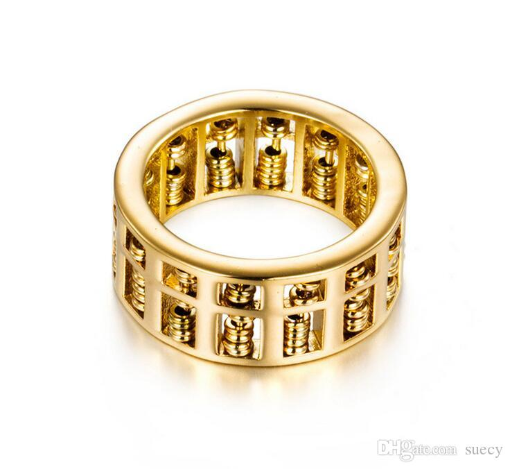 Luxe Mode Hommes Femmes Abacus Anneau Mathématiques Nombre Bijoux Or Argent Titane En Acier Inoxydable Charme De Mariage Bagues Cadeaux
