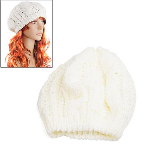MYPF 2017 New Fashion Women's Lady Beret Braided Baggy Beanie Crochet Warm Winter Hat Skullies Cap Wool Knitted Wholesale
