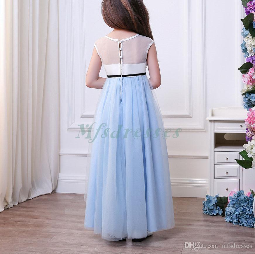 Nueva princesa Vestidos de colores vestidos de niña Alto Bajo niñas desfile de la fiesta de cumpleaños muchachas del vestido sin mangas de la flor