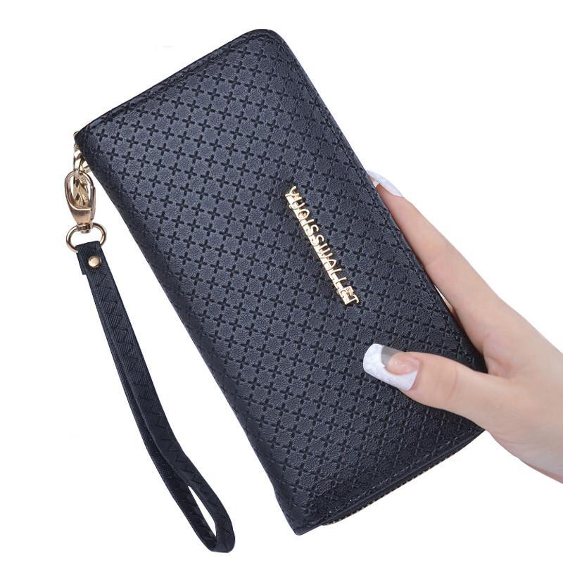837c4dff8094 Women Wallets Leather Coin Purse Female Long Wallet Wristlet Zipper ...
