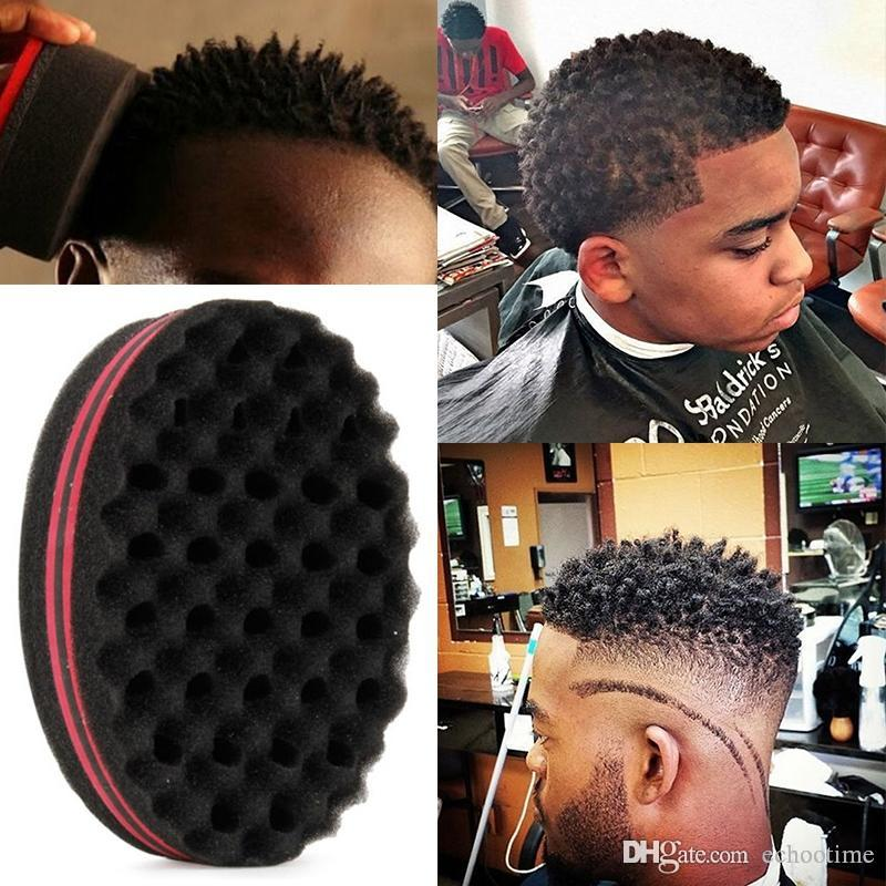 Newest Magic Double Head Sponge Men Barber Hair Brush Black Dreads Locking Afro Twist Curl Coil Brush Hair Styling Tools Hair Care