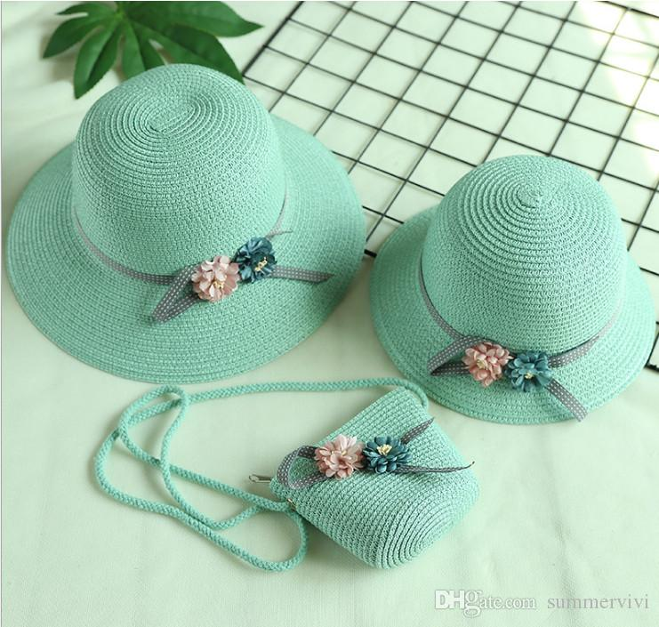 7a8e203c3ba Mother And Daughter Beach Sunhats Weaves Tote Girls Stereo Flowers Straw Hat  Cap+weave Tote Bag+women Wide Brim Hat Sets YA0333 Mother And Daughter  Sunhats ...