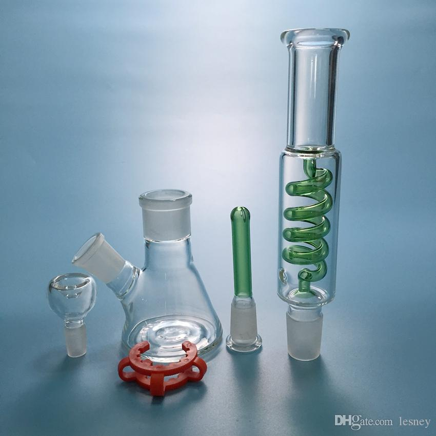 Beaker Bongs Condenser Coil Water Pipe Two Parts Build a Bong Arm Tree Perc Dab Rig Freezable Glass Bong Diffused Downstem Bong ILL04