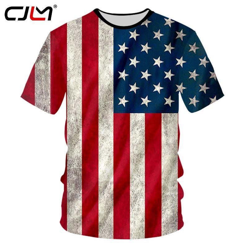 CJLM EUA Bandeira T-shirt Dos Homens Sexy 3d Tshirt Imprimir Listrado Da  Bandeira Americana Camisa dos homens T de Verão Tops de Manga Curta T Plus  Size 7XL 19c391b75a943