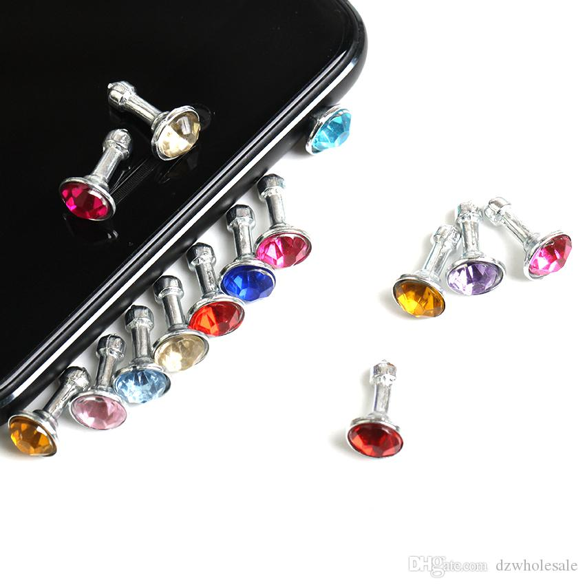 2000pcs/lot Diamond Dust Plug Universal 3.5mm Cell phone plug charms cap For iphone 4s 5s 5c samsung note 3 S4 ipad mini dp03