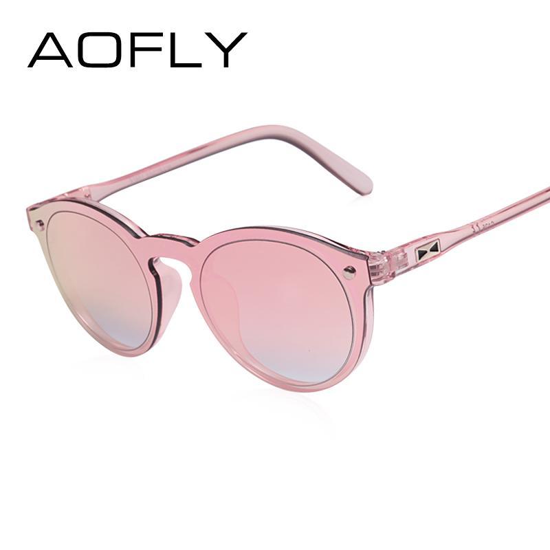 4c4c388739 AOFLY Women Sunglasses Oval Fashion Female Men Retro Reflective ...