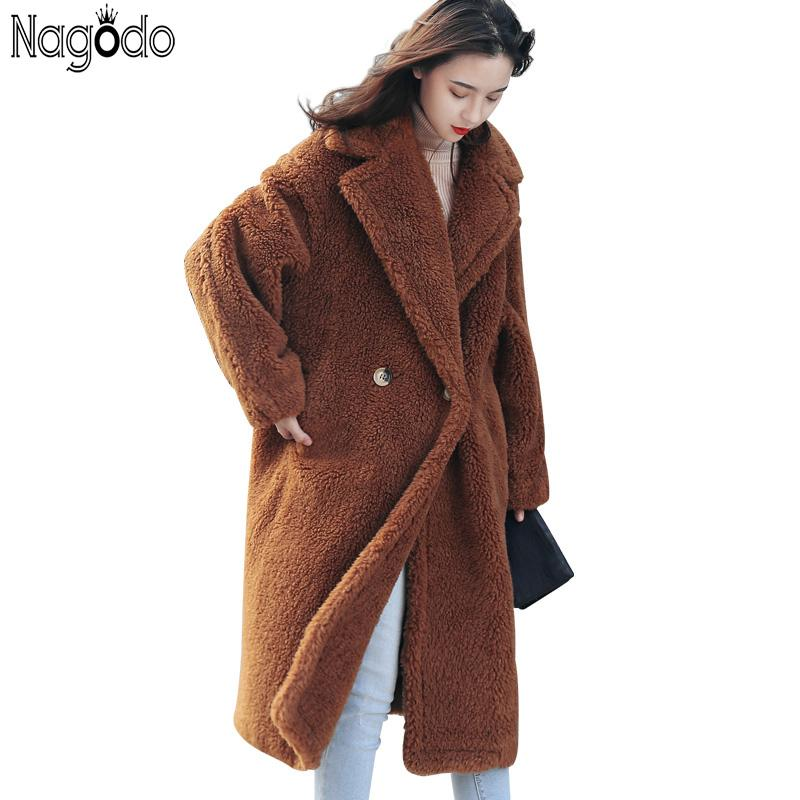 05d0e50d9 2019 Nagodo Teddy Coat Women 2018 Winter Thick Warm Pink Lamb Faux Fur Coats  Fashion Brown Female Casual Long Oversized Plush Coat From Xiatian6, ...