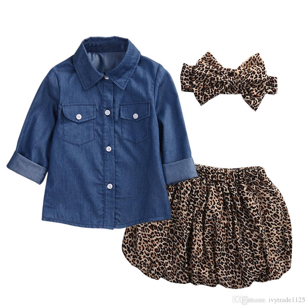 Ins Kids vêtements ensembles denim T-shirt + léopard court + bandeau ensembles petite fille t-shirt vêtements ensemble