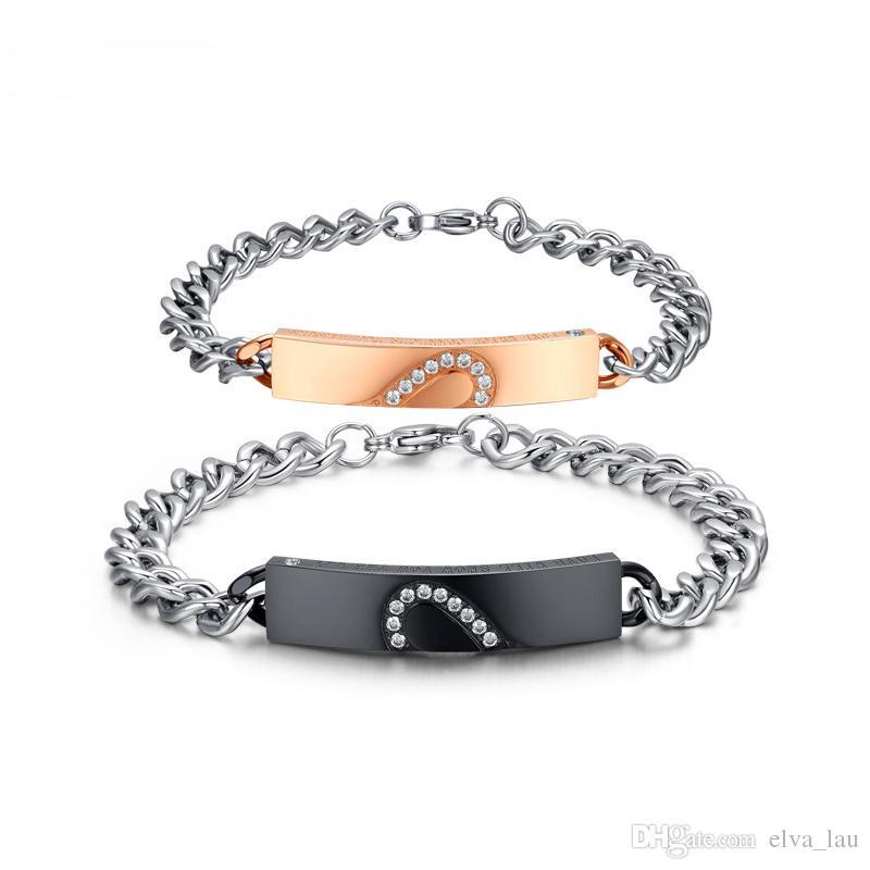316L Stainless Steel Letter Bracelets A Love Of Intertwined Luxury Cuban Link Couple Bracelet Bangle for Lovers Men Women Luxury Jewelry