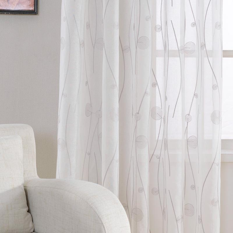 2019 New Embroidered White Sheer Curtains For Living Room Bedroom Abstract  Pattern Window Tulle Kitchen Small Window Curtains Drapes From Cansou, ...