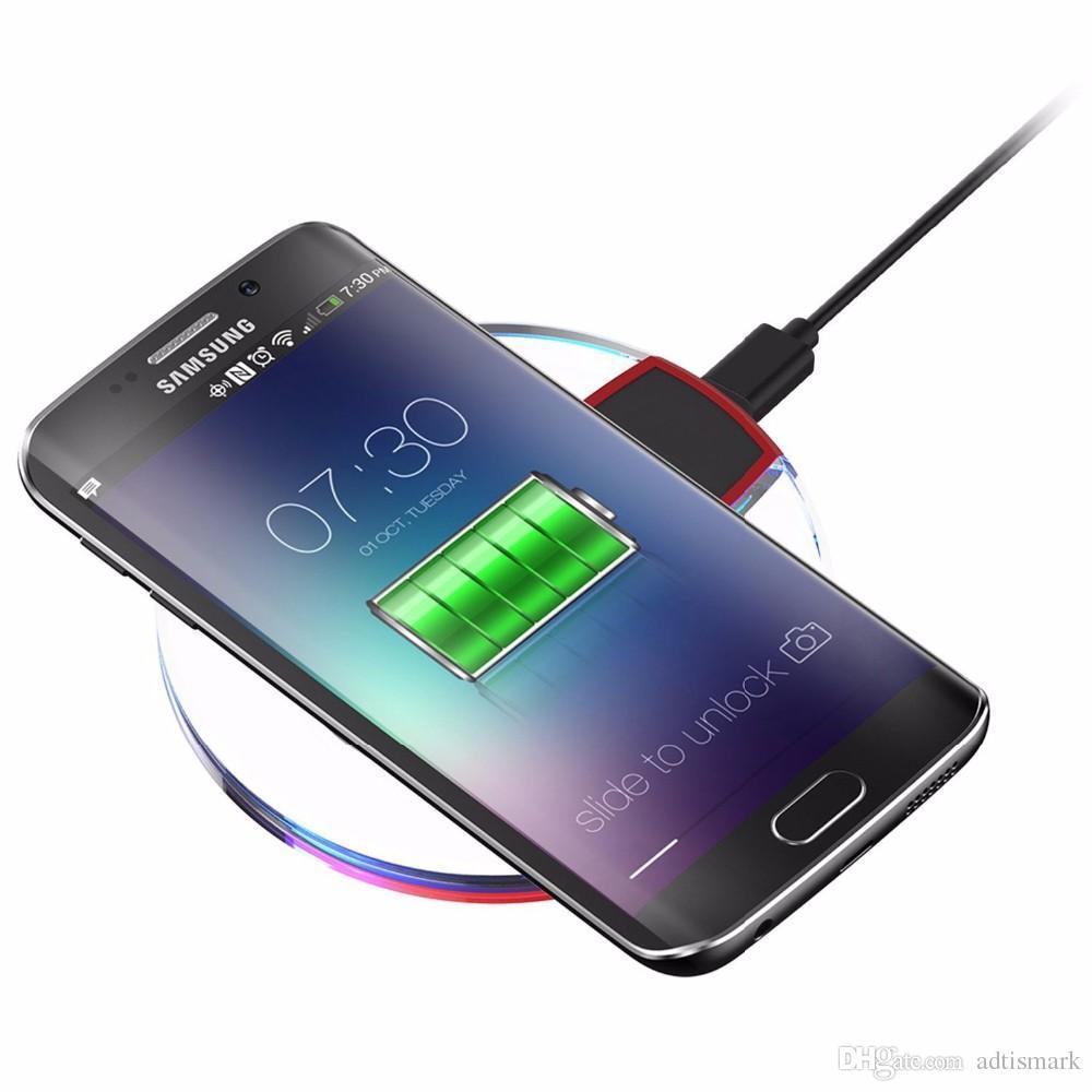 뜨거운 판매 5V 2A 크리스탈 충전 패드 Qi 무선 충전기 삼성 S7 가장자리 S6 아이폰 6 7 범용 스마트 폰