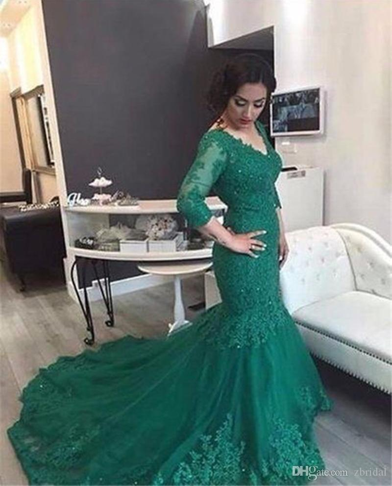 2018 New Emerald Green Arabic Prom Dress Mermaid V Neck Long Sleeves Full Lace Appliqued Formal Evening Party Gowns SP314