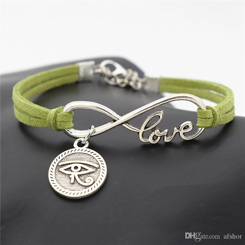 AFSHOR New Silver Ancient Egypt Totem Round Eyes of Horus Charms Lucky Women's Egyptian Eyes Love Infinity Leather Bracelet Bangles