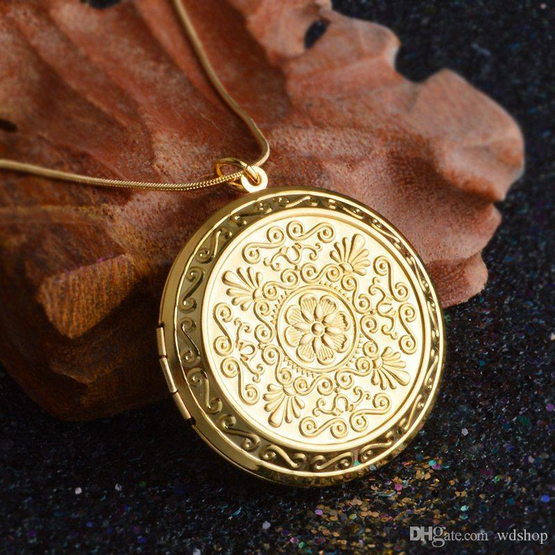 Fashion Lady's Necklace Copper Antique Bronze Silver/Gold Color 44mm Round Photo Locket Pendant Necklace For Women Men
