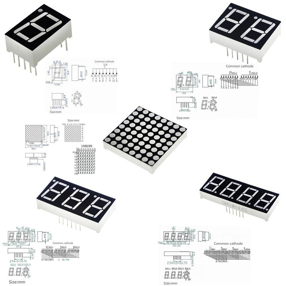 056inch 7 Segment 1bit 2bit 3bit 4bit Digital Tube Red Common Matrix Led Display Circuit Cathode Digit 8 X Lattice Bright Dot Displays Cheap
