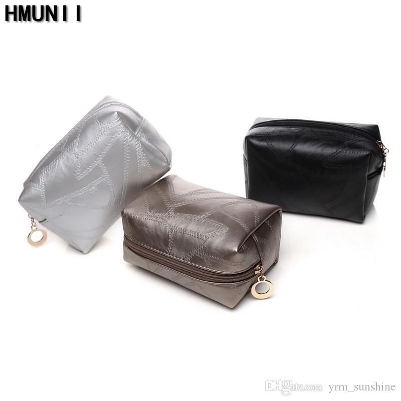 eff55d4ee04f85 QualityPU Leather Zipper Pillow Shaped Cosmetic Bag Make Up Toiletry Bag  Cosmetic Pouch Black Trousse De Maquillage Machine Facial Ultrasonic Skin  Care ...