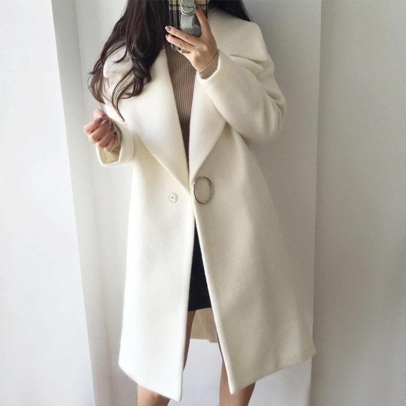 4cffe6e97c30 Acheter 2017 Blanc Laine Blend Manteau Femmes Revers Long Parka Hiver Veste  Cocoon Style Élégant Laine Manteau Épaisseur Femelle Survêtement C3745 De   91.72 ...